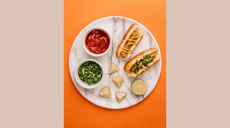 A plate of hotdogs