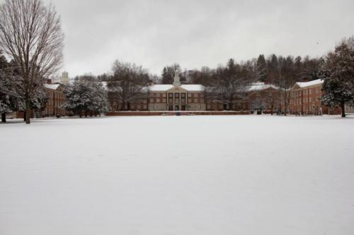Snow around campus