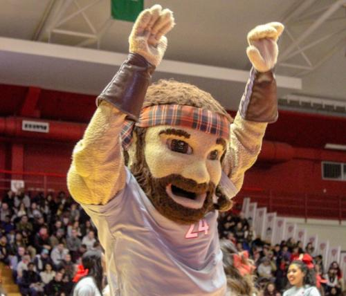 The Radford Highlander celebrates at the basketball game
